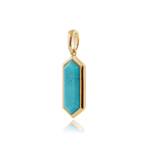 Geometric Hexagon Turquoise Prism Drop Pendant in Gold Plated Silver