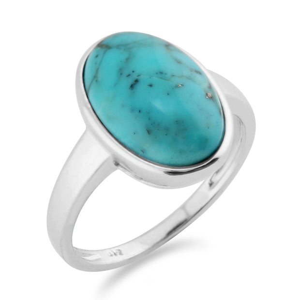 Classic Oval Turquoise Cabochon Bezel Set Cocktail Ring in 925 Sterling Silver