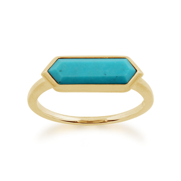 Gemondo 925 Gold Plated Sterling Silver 1.70ct Turquoise Hexagonal Prism Ring Image 1