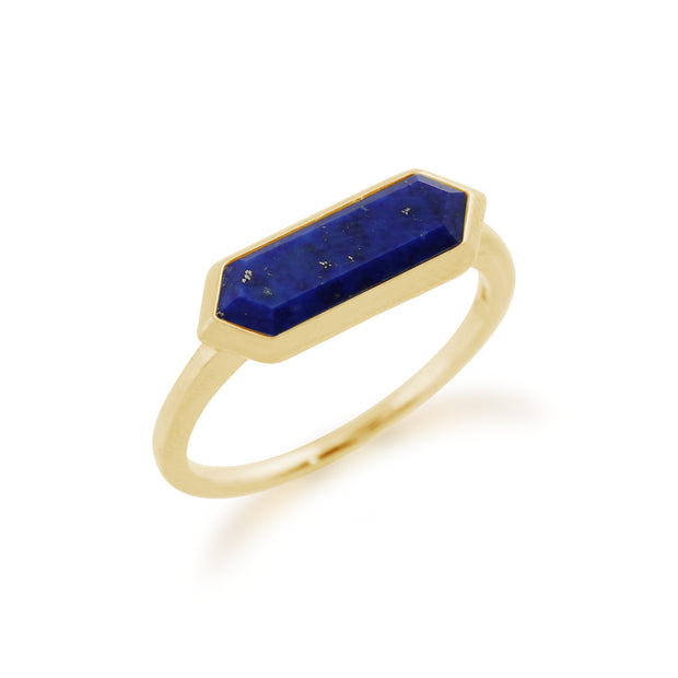 Geometric Hexagon Lapis Lazuli Ring In Gold Plated Sterling Silver