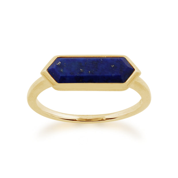 Geometric Hexagon Lapis Lazuli Ring In Gold Plated 925 Sterling Silver