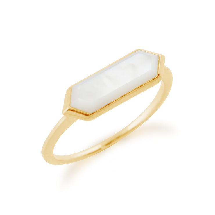 Gemondo 925 Gold Plated Silver 1.85ct Mother of Pearl Hexagonal Prism Ring Image 2
