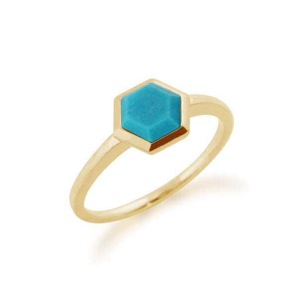 Gemondo 925 Gold Plated Sterling Silver 0.85ct Turquoise Hexagonal Prism Ring Image 2