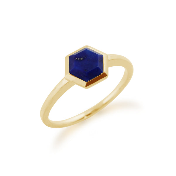 Geometric Hexagon Lapis Lazuli Yellow Gold Plated Ring