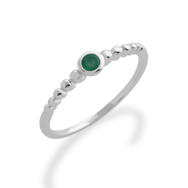 Essential Round Emerald Bezel Set Silver  Stack Ring