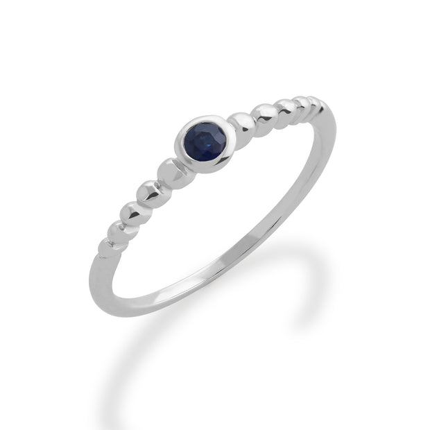 Essential Round Sapphire Bezel Set Stack Ring in 925 Sterling Silver