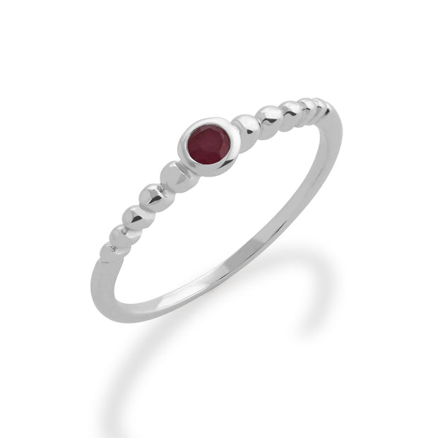 Essential Round Ruby Bezel Set Stack Ring in 925 Sterling Silver