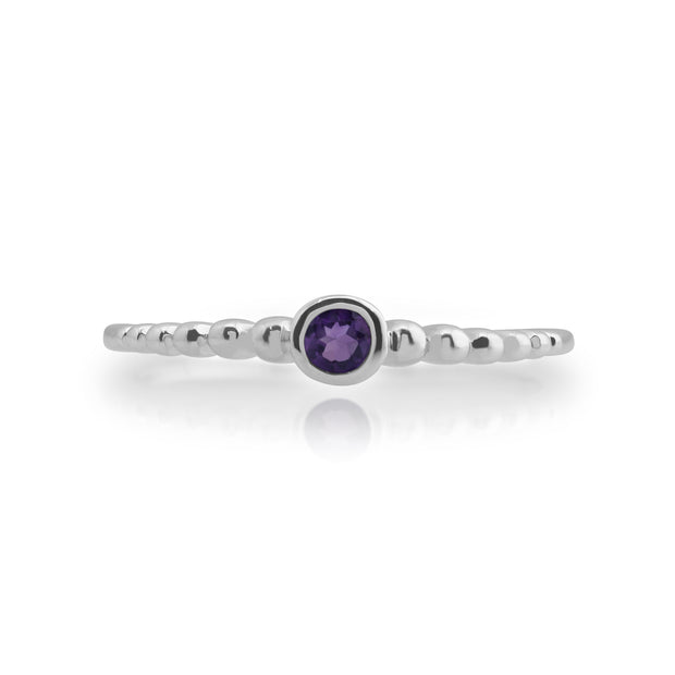 Essential Round Amethyst Bezel Set Stack Ring in 925 Sterling Silver