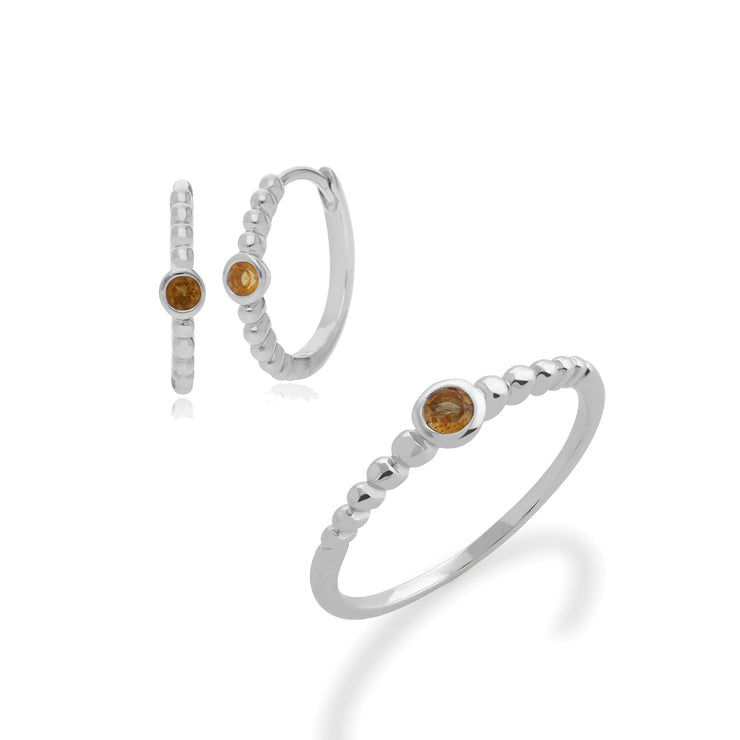 Essential Citrine Bezel Hoop Earrings & Ring Set Image 1