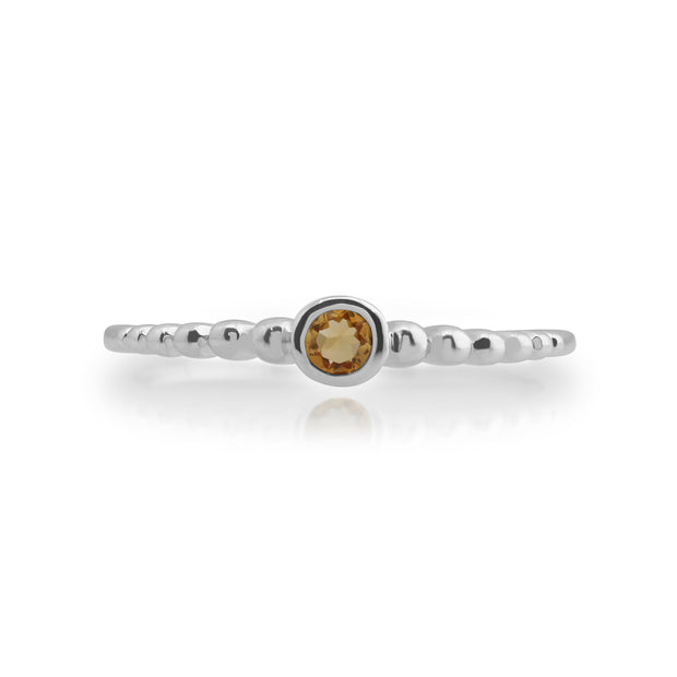 Gemondo 925 Sterling Silver 0.08ct Citrine Stackable Birthstone Ring Image 2
