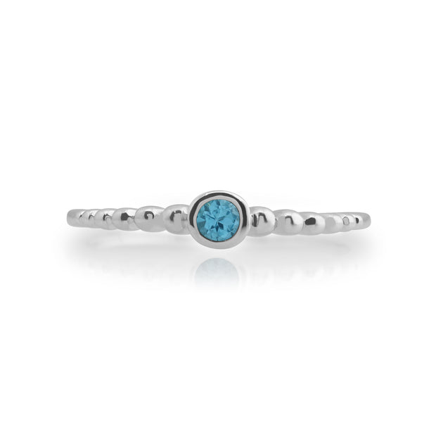 Essential Round Blue Topaz Bezel Set Stack Ring in 925 Sterling Silver