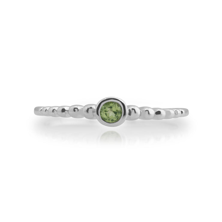 Essential Round Peridot Bezel Set Stack Ring in 925 Sterling Silver