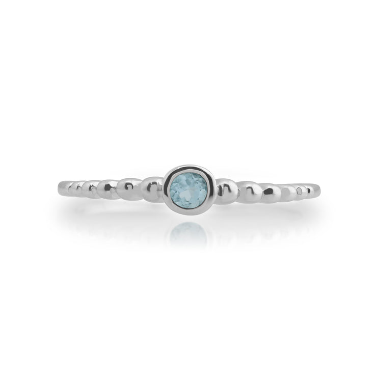 Essential Round Aquamarine Bezel Set Stack Ring in 925 Sterling Silver