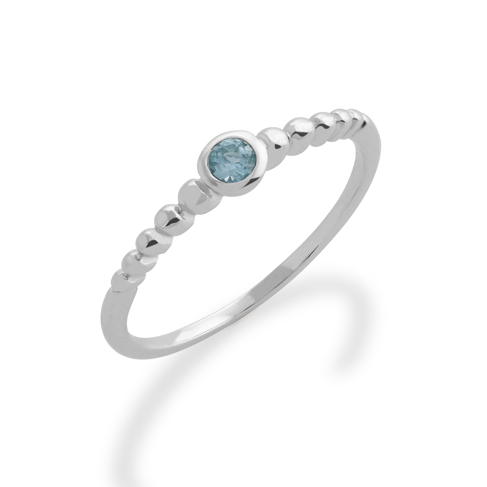 P Sterling Silver Royal Cluster Ring created Blue Aquamarine /& Diamond Size J