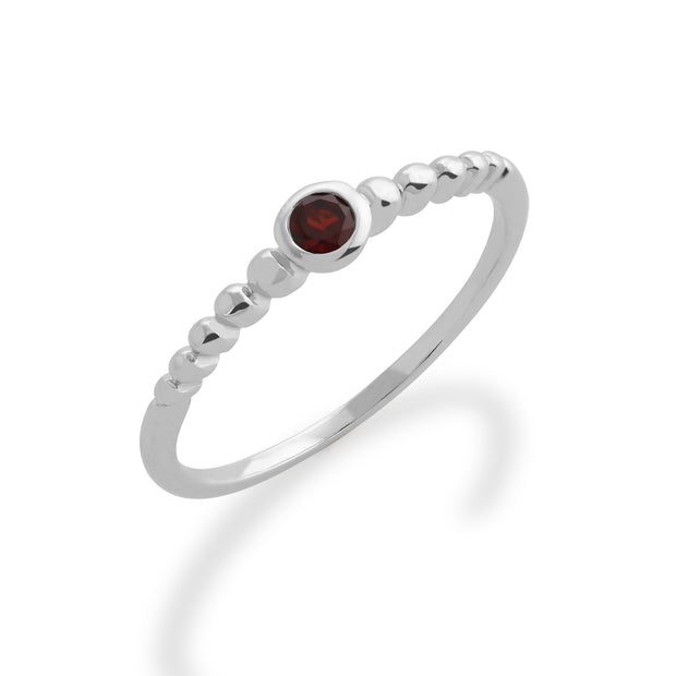 Essential Round Garnet Bezel Set Stack Ring in 925 Sterling Silver