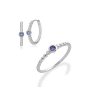 Essential Tanzanite Bezel Hoop Earrings & Ring Set Image 1