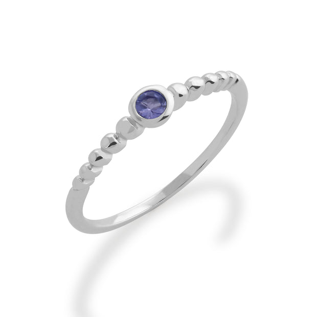 Essential Round Tanzanite Bezel Set Stack Ring in 925 Sterling Silver