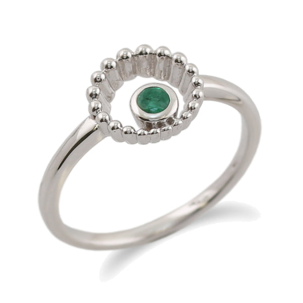 Gemondo 925 Sterling Silver 0.11ct Emerald Ring Image 1