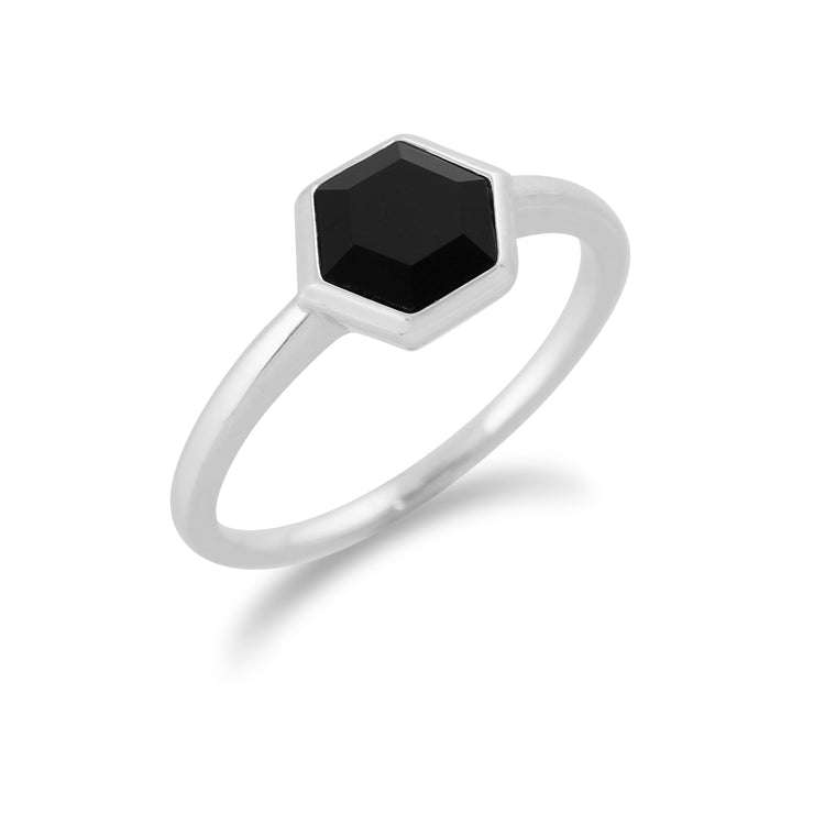 Geometric Hexagon Black Onyx Sterling Silver Ring