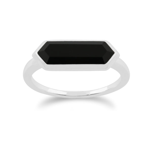 Geometric Hexagon Black Onyx Prism Ring in 925 Sterling Silver
