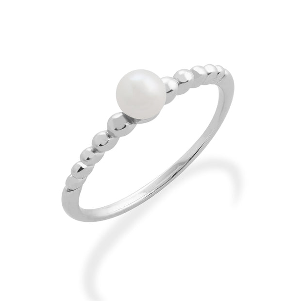 Essential Round Pearl Stack Ring in 925 Sterling Silver