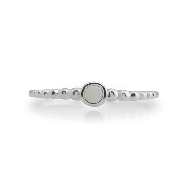 Essential Round Opal Bezel Set Stack Ring in 925 Sterling Silver