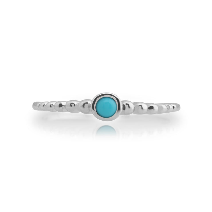 Essential Round Turquoise Bezel Set Stack Ring in 925 Sterling Silver