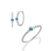 Essential Turquoise Bezel Hoop Earrings & Ring Set Image 1