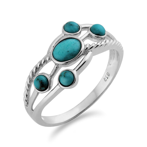 Contemporary Oval Turquoise Cabochon Five Stone Ring in 925 Sterling Silver