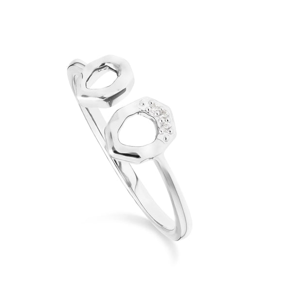Diamond Asymmetric Open Ring in 9ct White Gold