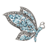 Art Nouveau Style Marquise Blue Topaz & Marcasite Flying Butterfly Brooch in 925 Sterling Silver