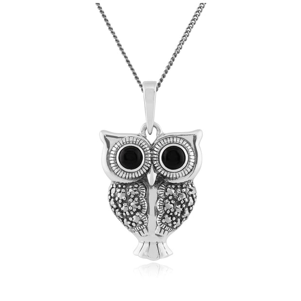 Art Deco Black Onyx & Marcasite Owl Pendant on Chain Image 1