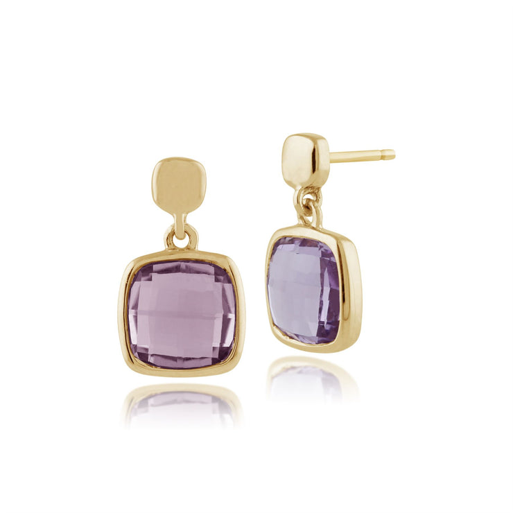 Square Checkerboard Amethyst 9ct Yellow Gold Drop Earrings