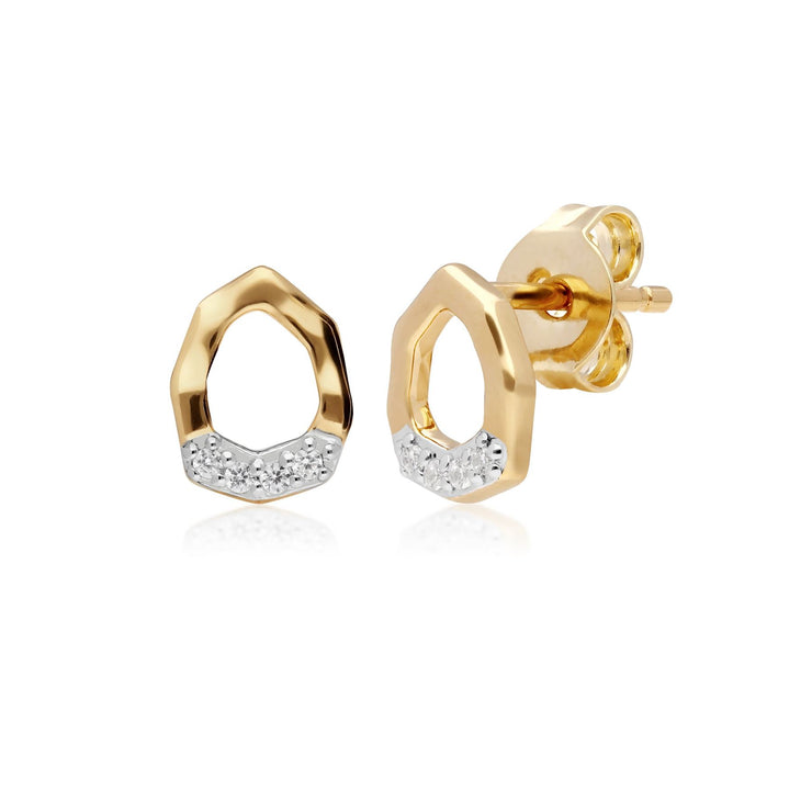 Diamond Asymmetrical Stud Earrings in 9ct Yellow Gold
