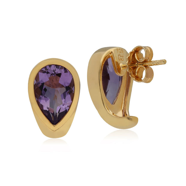 Kosmos Amethyst Earrings in Yellow Gold Plated Sterling Silver
