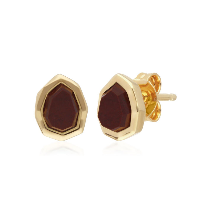 Irregular Red Jasper Stud Earrings in Gold Plated Sterling Silver