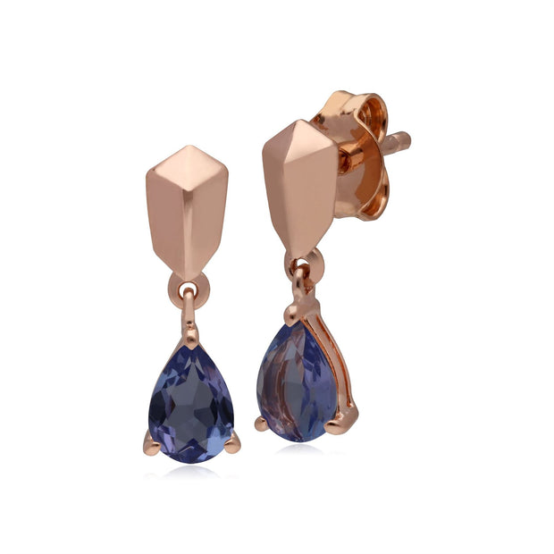 Micro Statement Tanzanite Earrings in Rose Gold Plated 925 Sterling Silver