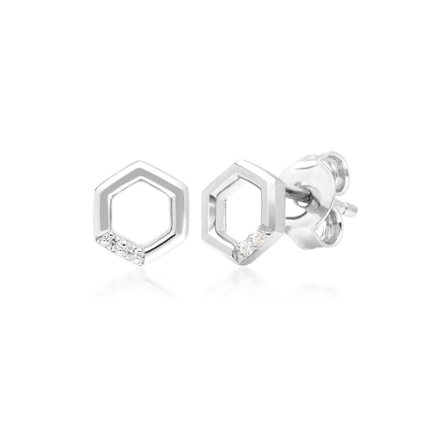 Diamond Pave Hexagon Stud Earring & Ring Set in 9ct White Gold