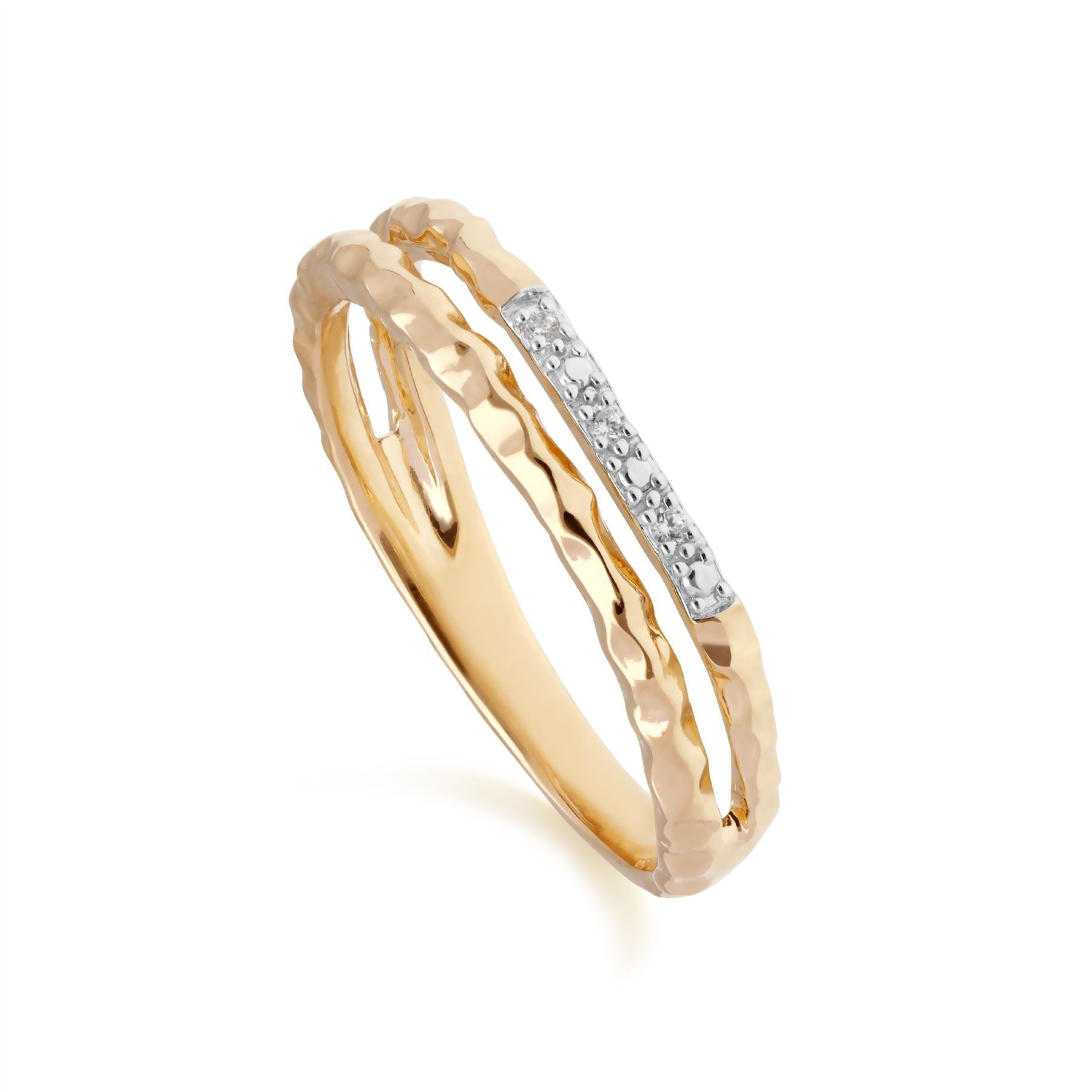 Image of            Diamond Pavé Hammered Double Band Ring in 9ct Yellow Gold