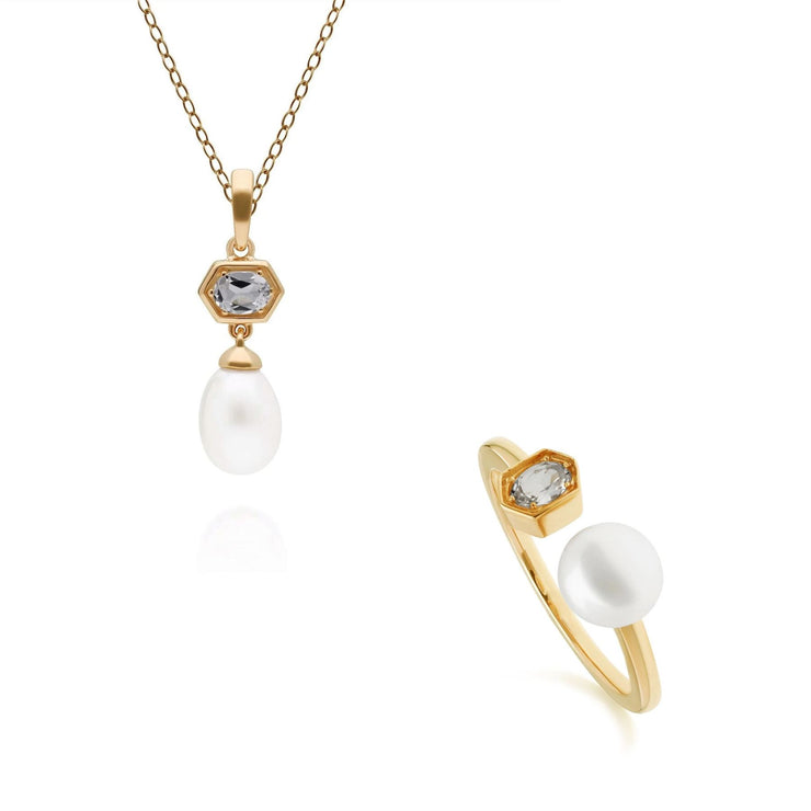 Modern Pearl & Topaz Pendant & Ring Set in Gold Plated Sterling Silver