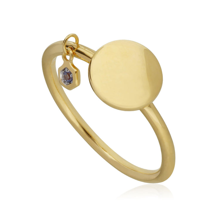 Tanzanite Engravable Ring in Yellow Gold Plated Sterling Silver
