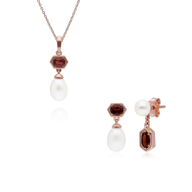 Modern Pearl & Garnet Pendant & Earring Set in Rose Gold Plated Sterling Silver
