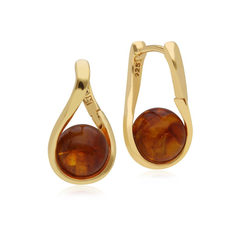 Kosmos Amber Orb Earrings in Gold Plated Sterling Silver