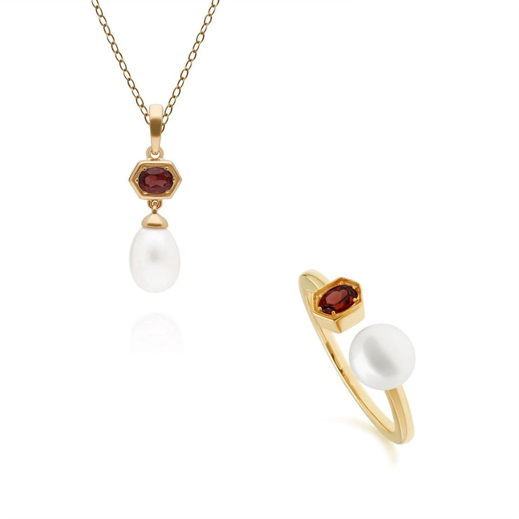 Modern Pearl & Garnet Pendant & Ring Set in Gold Plated Sterling Silver
