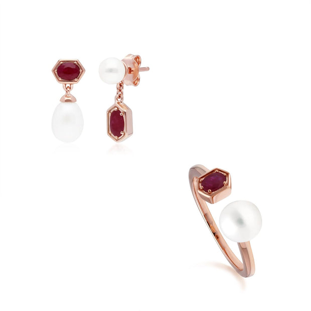 Modern Pearl & Ruby Earring & Ring Set in Rose Gold Plated Sterling Silver