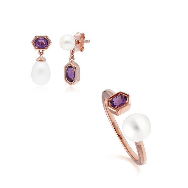 Modern Pearl & Amethyst Earring & Ring Set in Rose Gold Plated Sterling Silver