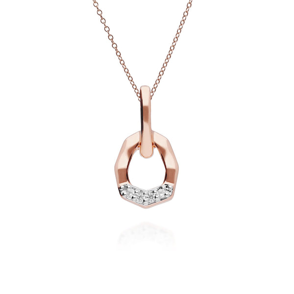 Diamond Pave Asymmetrical Pendant in 9ct Rose Gold
