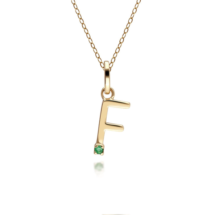 Initial F Emerald Letter Charm Necklace in 9ct Yellow Gold