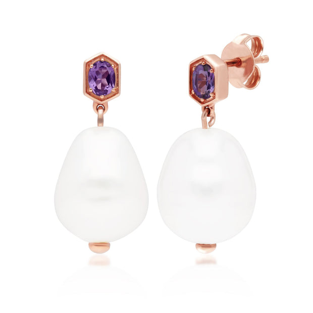 Modern Baroque Pearl & Amethyst Drop Earrings in Rose Gold Plated Sterling Silver