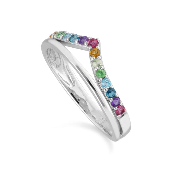 Rainbow Gemstone Wishbone Ring Style in 925 Sterling Silver